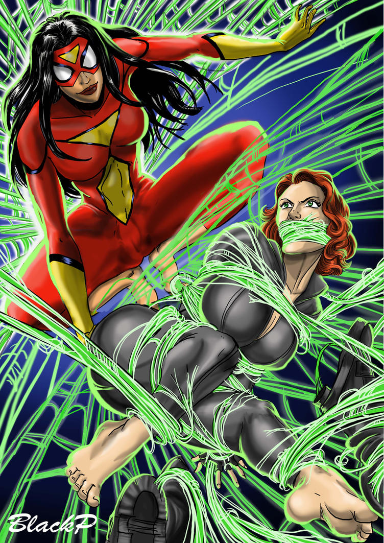 Spiderwoman vs Black Widow by BlackProf
