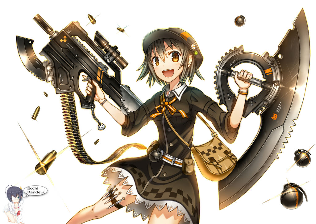 Anime girl with gun and dagger render by iamecchi on - Gun girl anime ...