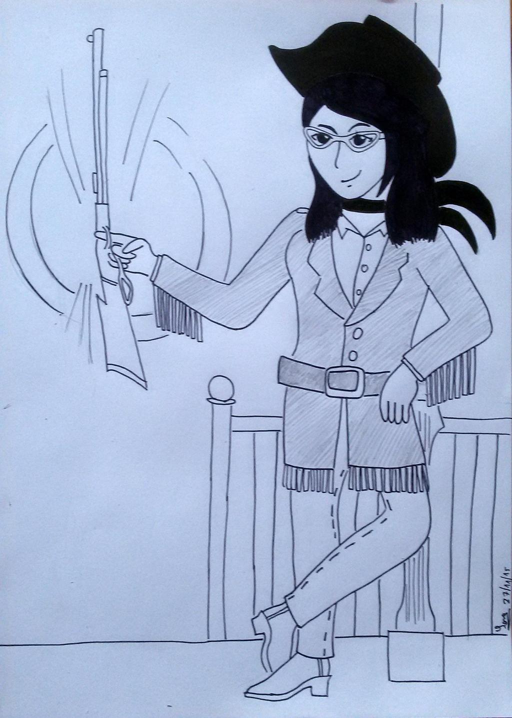 Self-portrait as Lucky Luke's Calamity Jane by saramarconato