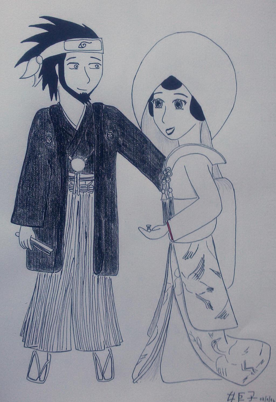 Asuma and Kurenai wedding portrait by saramarconato