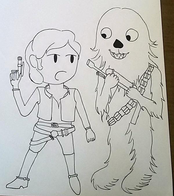 Chibi Han Solo and Chewbacca by saramarconato