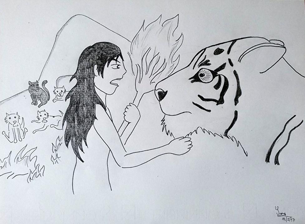 Mowgli burns Shere Khan's whiskers by saramarconato