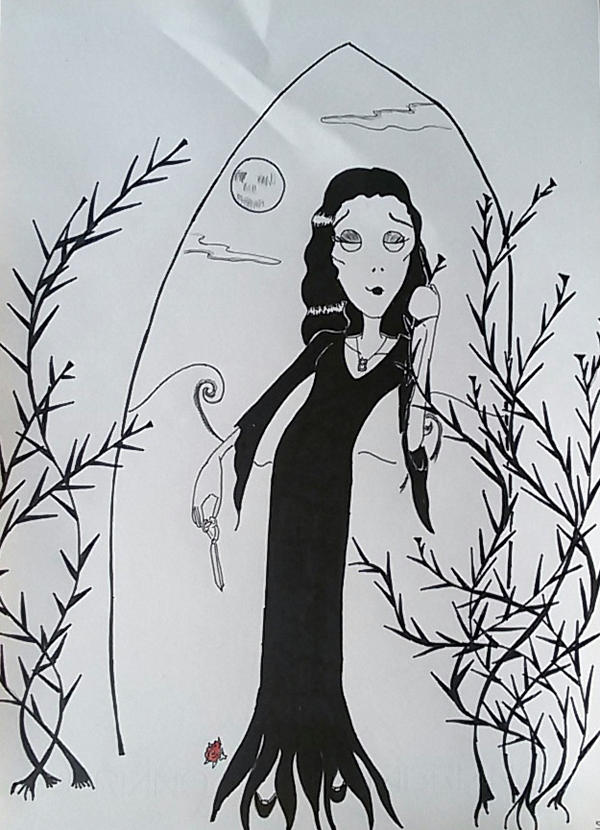 Morticia and her roses by saramarconato