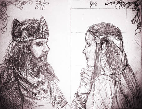 Aragorn and Arwen - sketch for copper engraving
