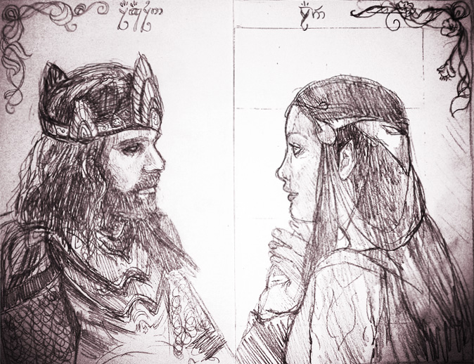 Aragorn and Arwen - sketch for copper engraving by Mourlie