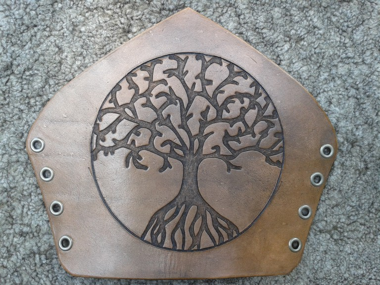 Carved Leather Bracer With The Tree Of Life Symbol By Marcuslerenard
