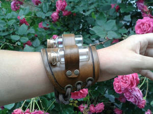 Apothecary leather bracelet with vial