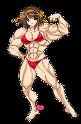 Muscular Haruhi Suzumiya by Shayeragal