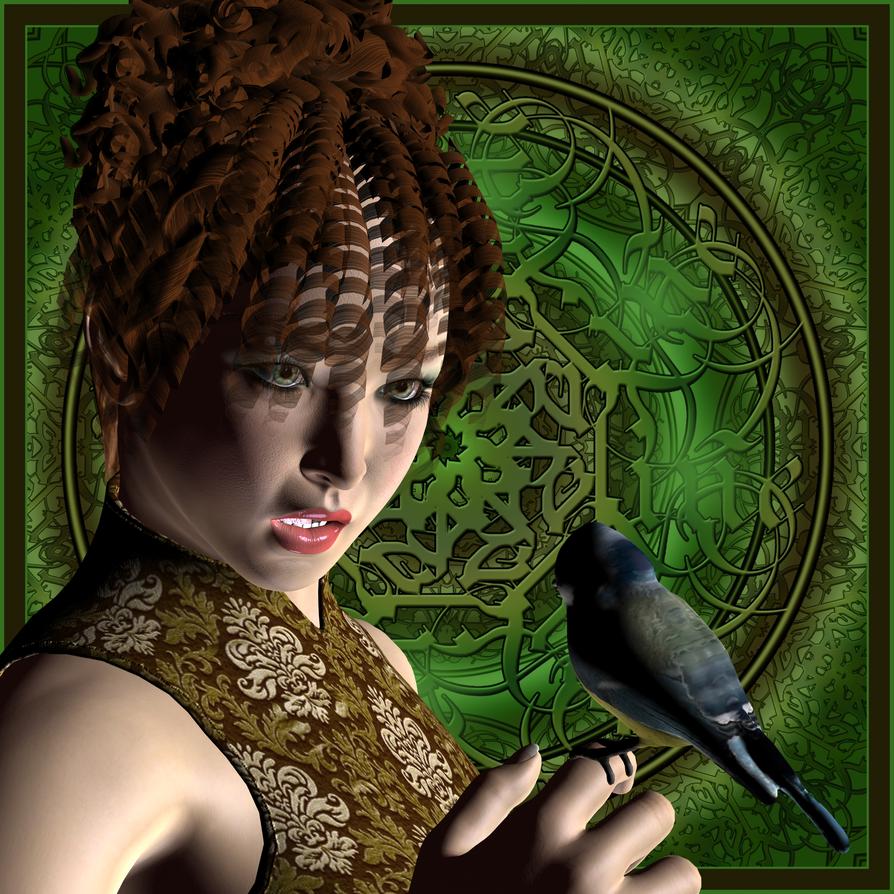 The Bird on her finger by FractalBee