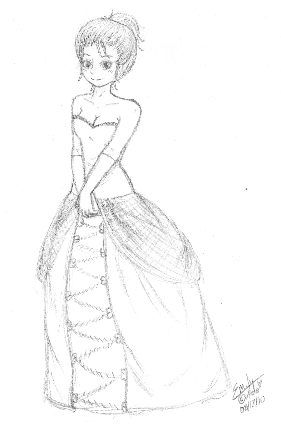 How to draw pretty anime dresses