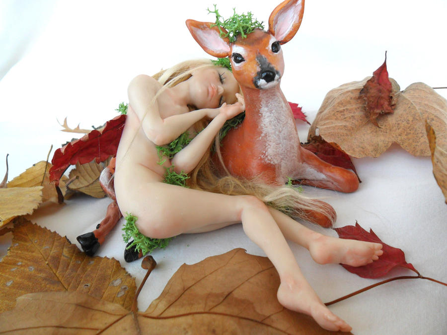 OOAK fantasy sculpture-Dafne and the Fawn by Celestyal