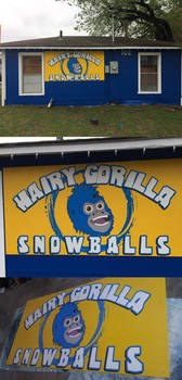 Hairy Gorilla Snowballs Dessert Shop Sign