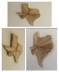 Sunburst Cut Wooden Texas Wall Art