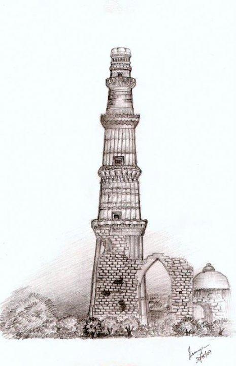 Qutub Minar Sketch Black And White | www.pixshark.com ...