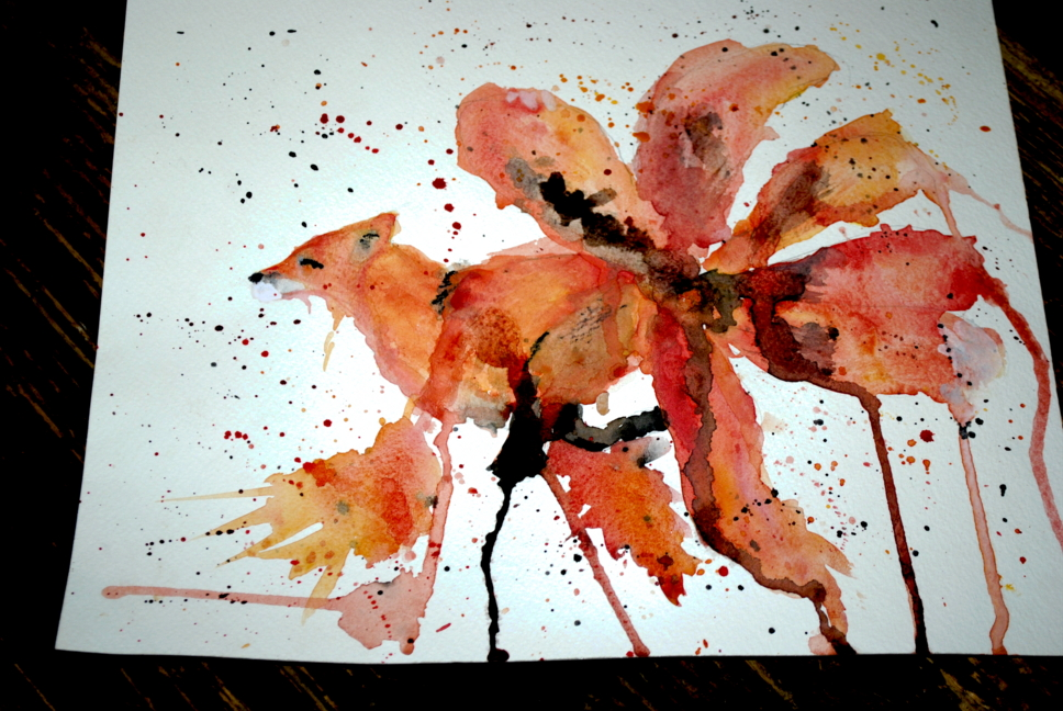 Watercolor running kitsune by bezag