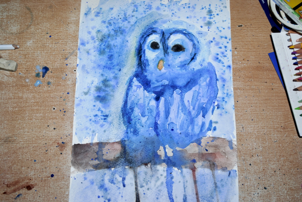 Watercolor blue owl by bezag
