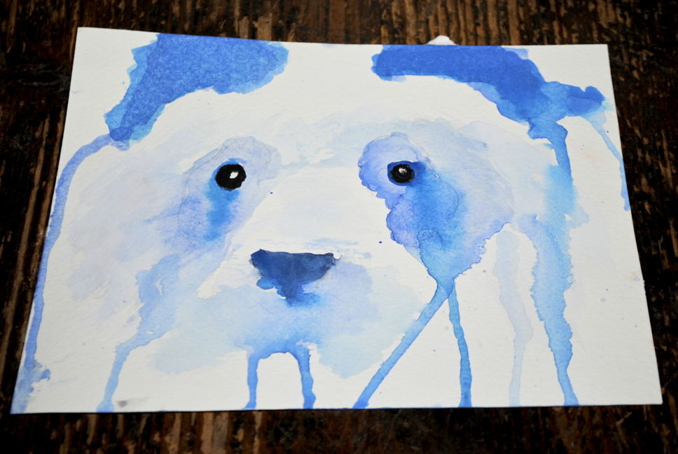 Blue panda watercolor by bezag