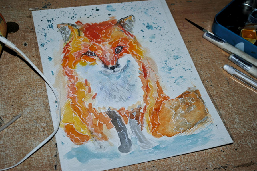fox watercolor by bezag