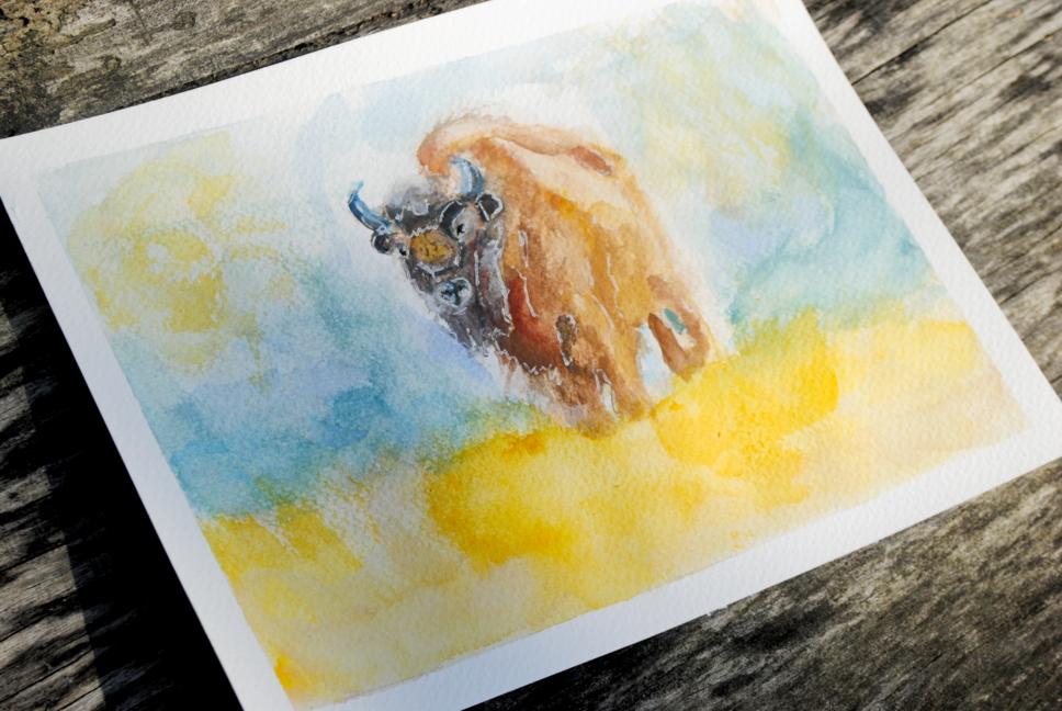 Zubr European bison watercolor by bezag