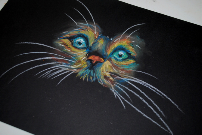 cat in pastel by bezag
