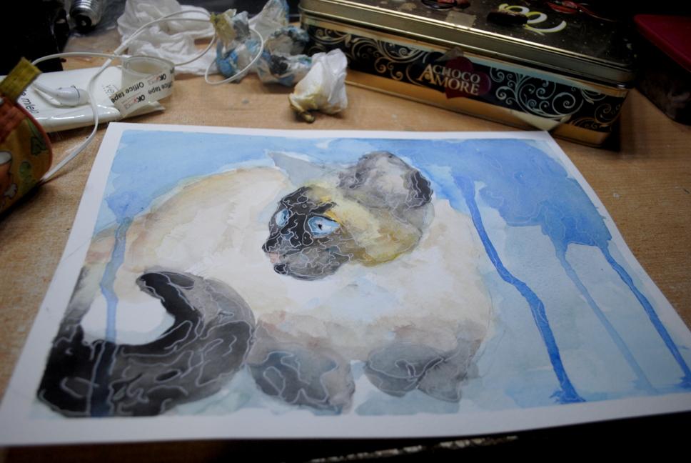 Cat siamese watercolor by bezag