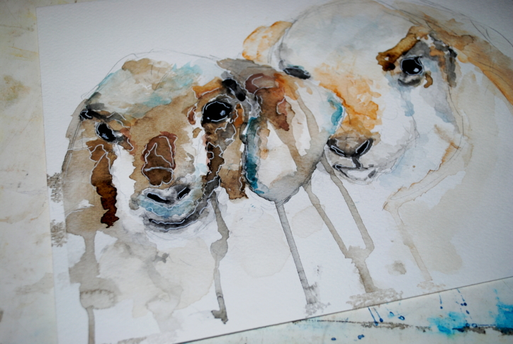 Goats watercolor by bezag
