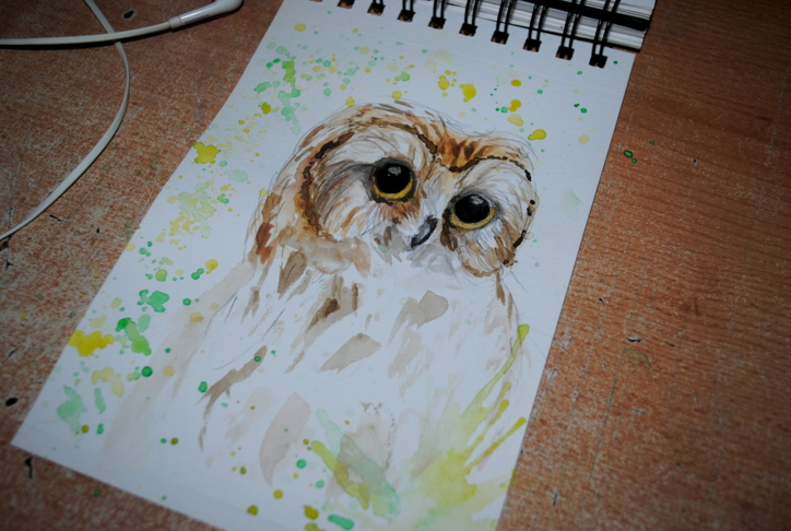 Green owl  watercolor by bezag