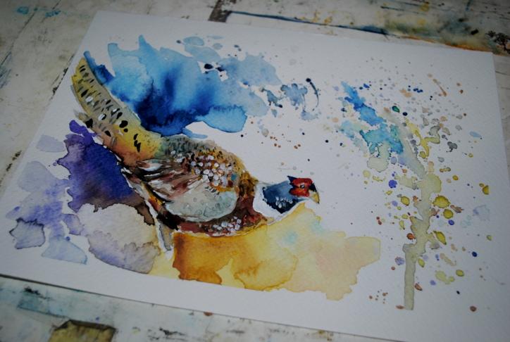 pheasant watercolor by bezag