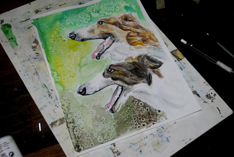 Borzoi, watercolor by bezag