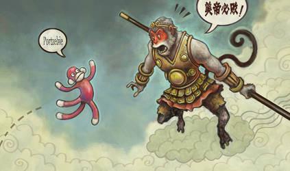 Monkey King Vs. Sock Monkey by sonny123