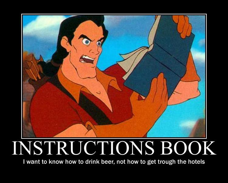 gaston reads instructions book by megaphantaze on deviantart