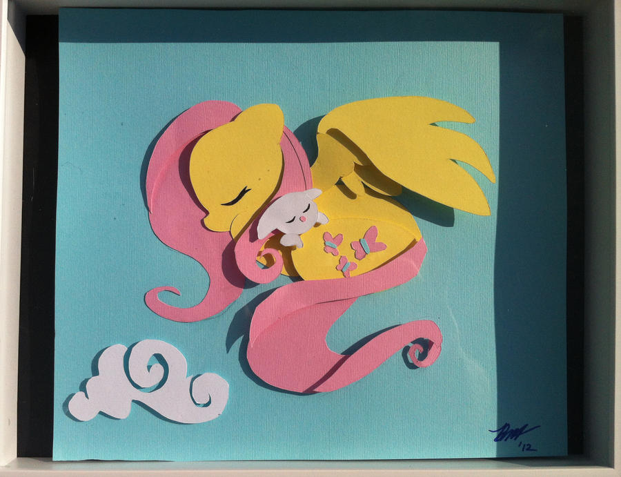 Sleepy Fluttershy Shadowbox by The-Paper-Pony