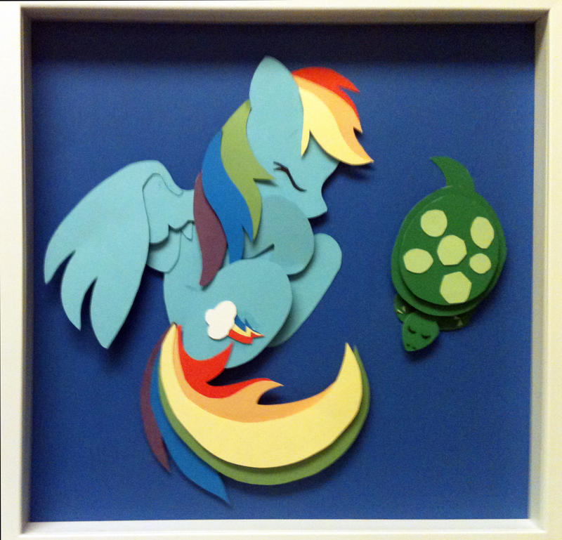 [SOLD] Sleepy Rainbow Dash Shadowbox by The-Paper-Pony