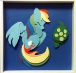 [SOLD] Sleepy Rainbow Dash Shadowbox by The-Paper-Pony