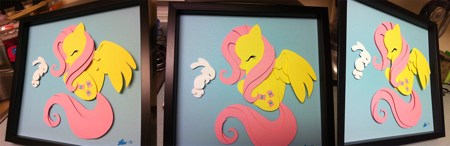 Commission:  Fluttershy Shadowbox by The-Paper-Pony