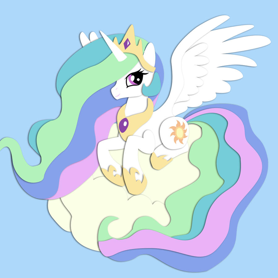 Shadowbox Mock-up:  Celestia by The-Paper-Pony