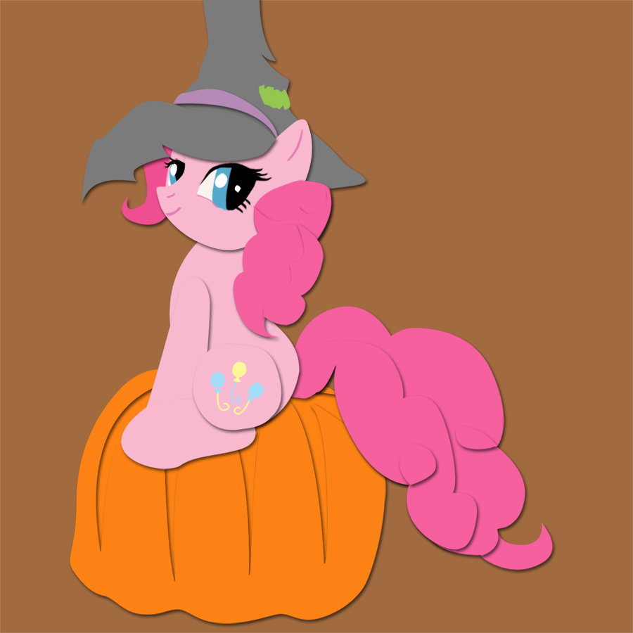Shadowbox Mockup: Pinkie on a Pumpkin by The-Paper-Pony