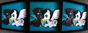 Commission:  Warden + Kuno (+Child) Shadowbox
