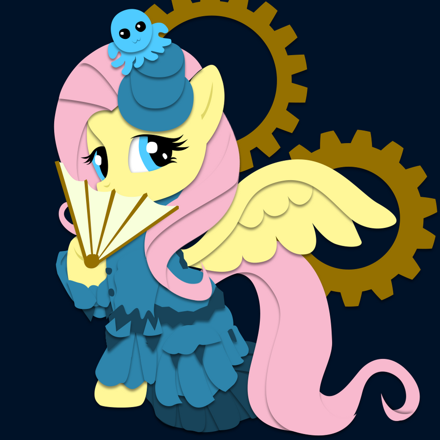 Commission: Steampunk Fluttershy Shadowbox Mock-Up by The-Paper-Pony