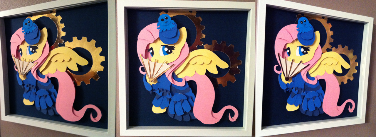 Commission: Victorian Fluttershy Shadowbox by The-Paper-Pony