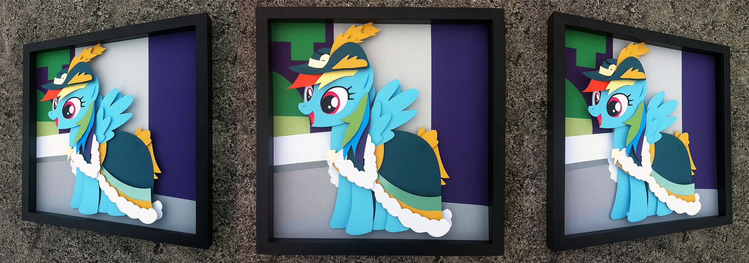 Commission:  Coronation Rainbow Dash Shadowbox by The-Paper-Pony