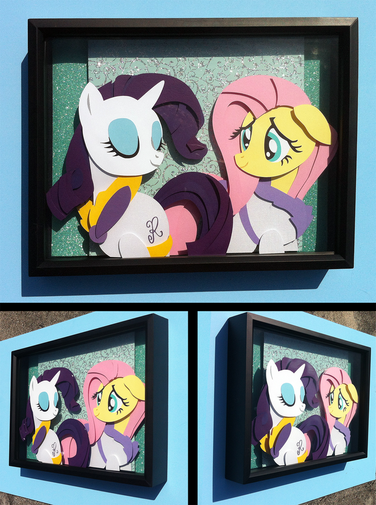 Commission: Spa Rarity + Fluttershy Shadowbox by The-Paper-Pony