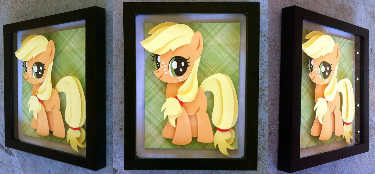 Filly Applejack Shadowbox (8x10) by The-Paper-Pony