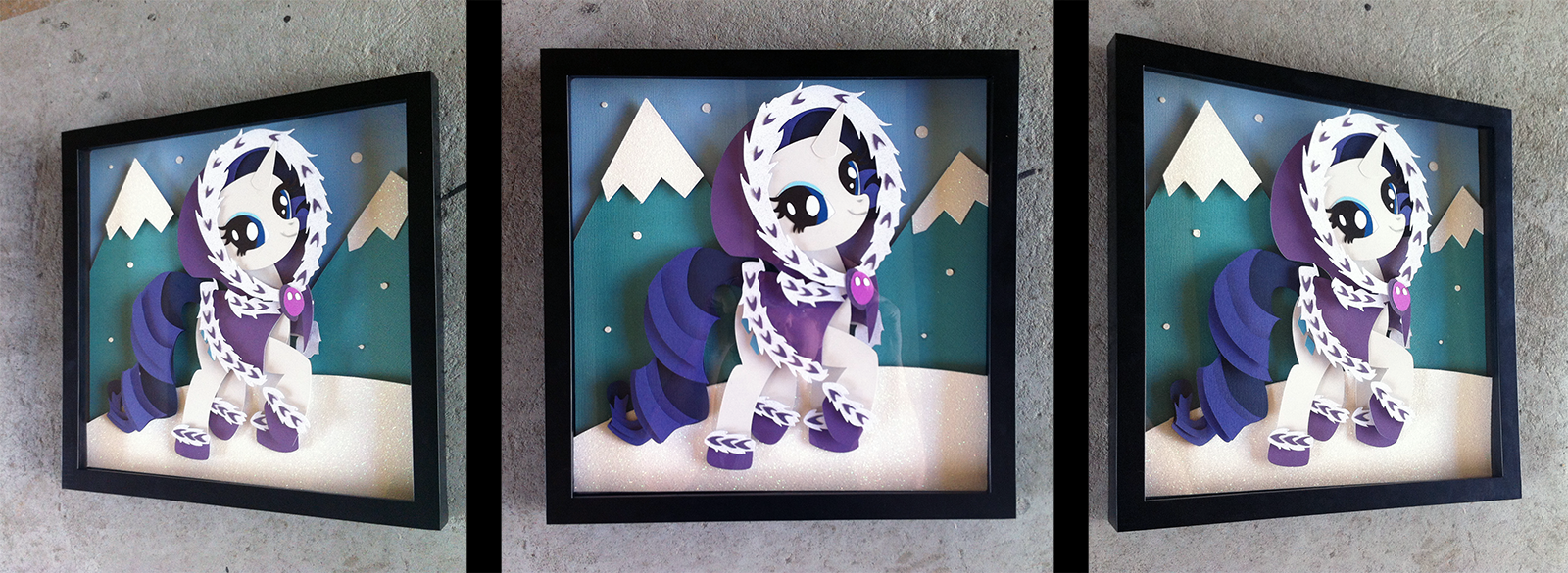 Commission:  Hearth's Warming Eve Rarity Shadowbox by The-Paper-Pony