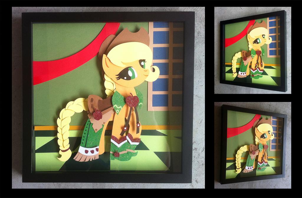 Shadowbox:  Gala Dress Applejack by The-Paper-Pony