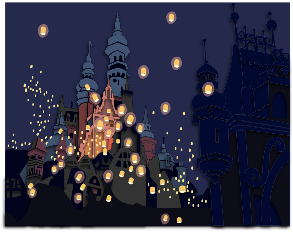 Commission Tangled Lanterns Shadowbox Mock Up By The Paper Pony On Deviantart