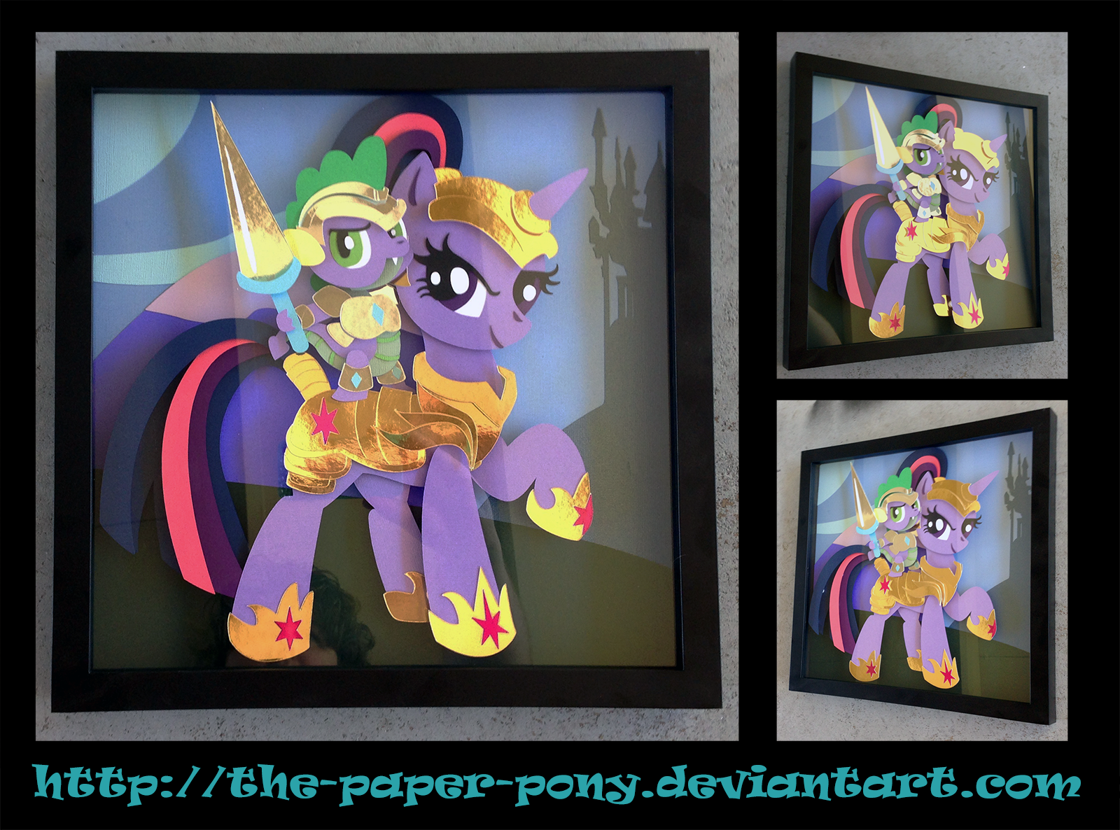 Commission: Armored Twilight + Spike Shadowbox by The-Paper-Pony