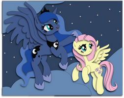 Commission: Luna and Fluttershy Shadowbox Mock-up by The-Paper-Pony