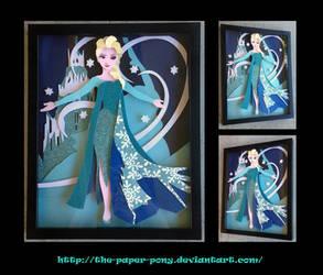 Frozen's Queen Elsa: Let It Go Shadowbox by The-Paper-Pony