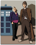 Shadowbox Mock-up:  10th Doctor and Rose